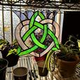Iris Valentine Celtic Heart - Stained Glass Sun Catcher
