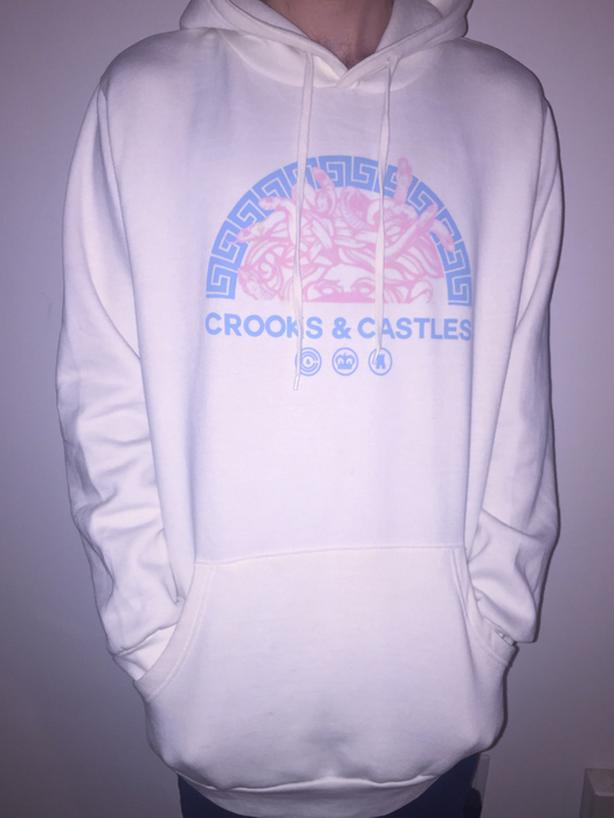 Crooks & Castles and Versace white, blue, pink pullover hoodie