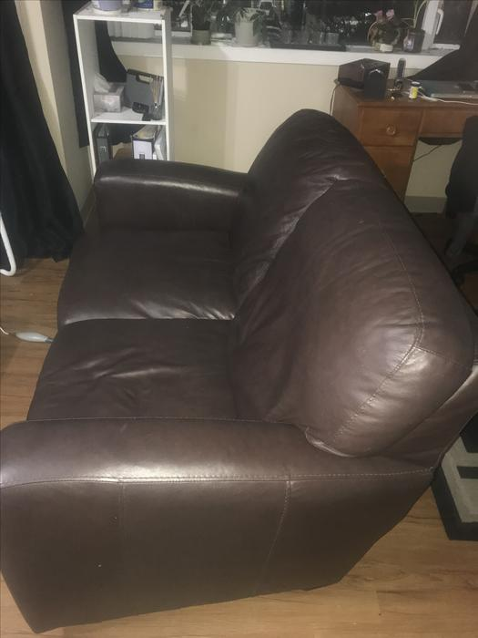 Dark Brown Leather Loveseat Couch Victoria City Victoria