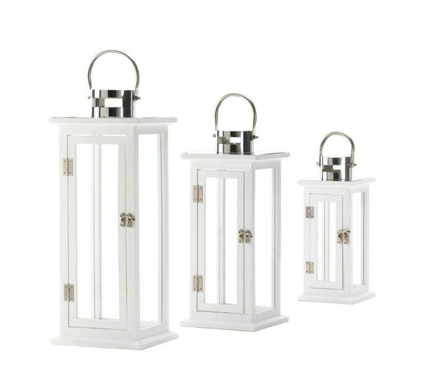 White Wood Candle Lantern Stainless Steel Handle S/M/L 3 Lot Mixed