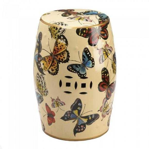 Ceramic Stool Plant Stand Side Table Butterfly Print Barrel-Shape NEW