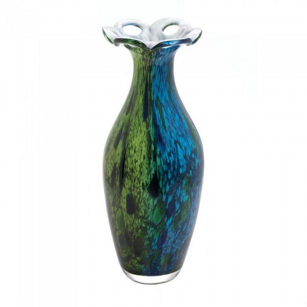 Hand-Crafted Art Glass Flower Vase Swirling Blues & Greens 2 Styles Choice New