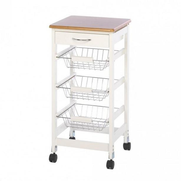 White Kitchen Side Table Trolley Cart Drawer 3 Metal Baskets Bamboo Wood Top New