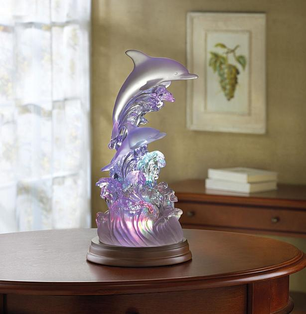 LED Light-Up Color-Changing Dolphin Figurine 2 Styles Brand New
