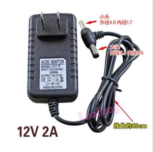 2 in 1 AC/DC 12V 2A Power Supply Adapter 5.5mm 2.5mm 4.0mm 1.7mm