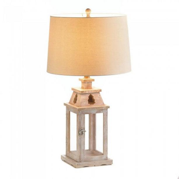 Unique 2-In-1 Wooden Table Lamp with Candle Lantern Showcase Base & Fabric Shade