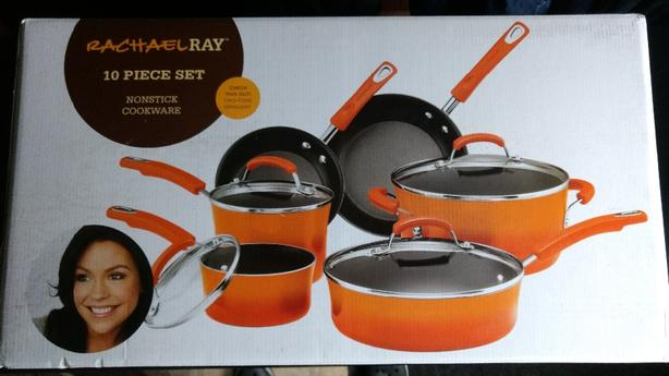 Unopened Rachael Ray orange cookware set