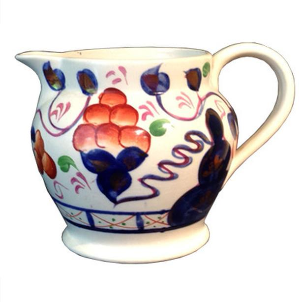 Antique Gaudy Welsh Creamer in the Oyster Pattern