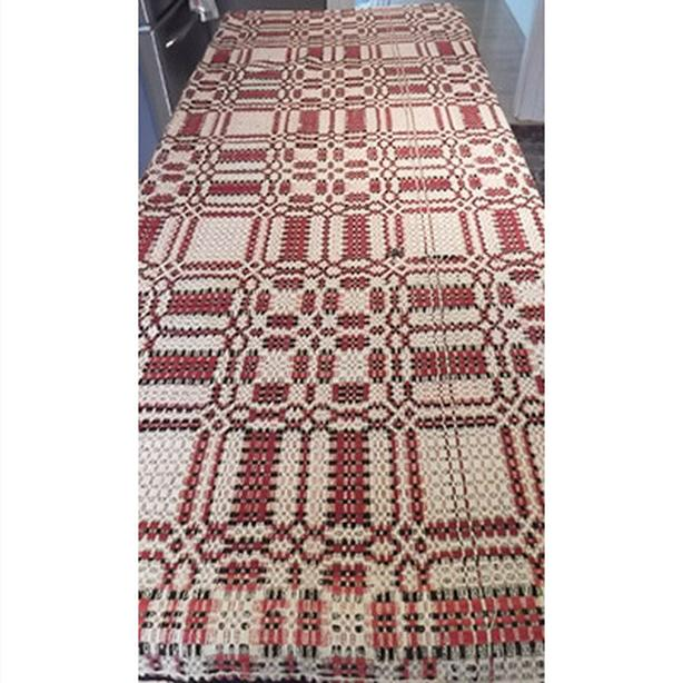 Antique indigo red, white and black coverlet