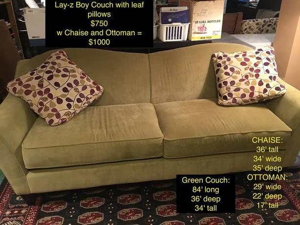 Lay-Z Boy Sofa and Accent Chaise w Ottoman