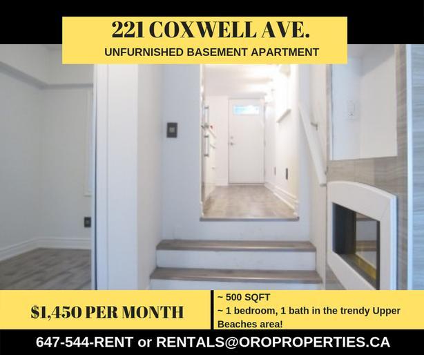 Modern 1 Bedroom Basement Apartment in Upper Beaches!