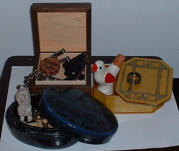 Three Collectible Boxes With Various Trinkets