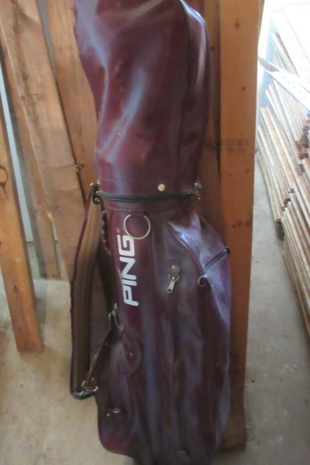 Quality Burgandy leather PING golf bag