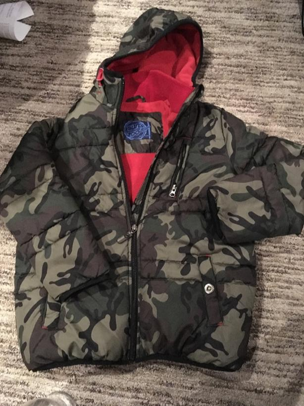 boys camo winter coat age 9-10