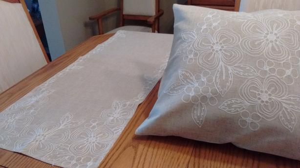 table runner and two cushion covers