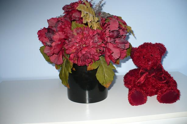 Artificial Flower Decor with Matching Colored Teddy Bear