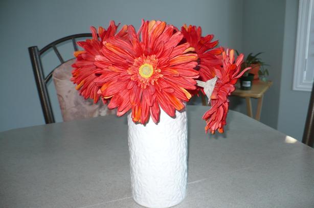 Artificial Orange Daisies in Ceramic Vase
