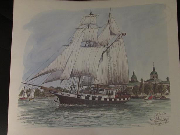 4 Prints of Tall Ships by artist Ben Babelowsky 1984