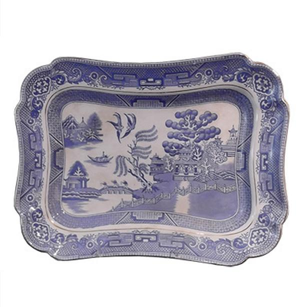 Vintage Blue Willow rectangular platter