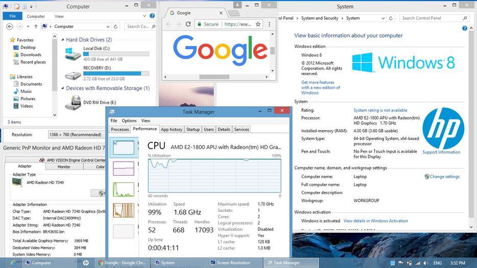 $199 · HP 2000 Laptop Computer AMD Webcam WiFi 4GB RAM 500GB 15 6
