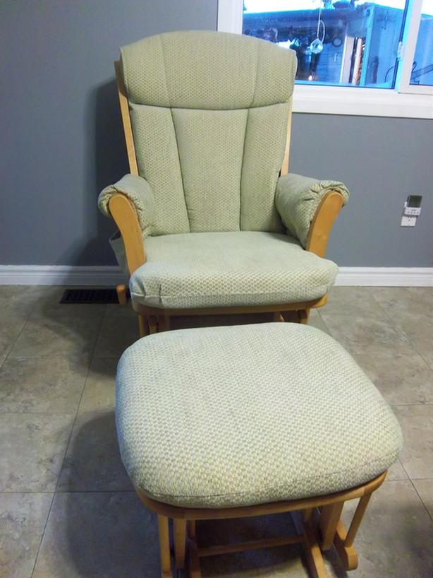 Dutailier Solid Wood Rocking Chair Glider With Ottoman