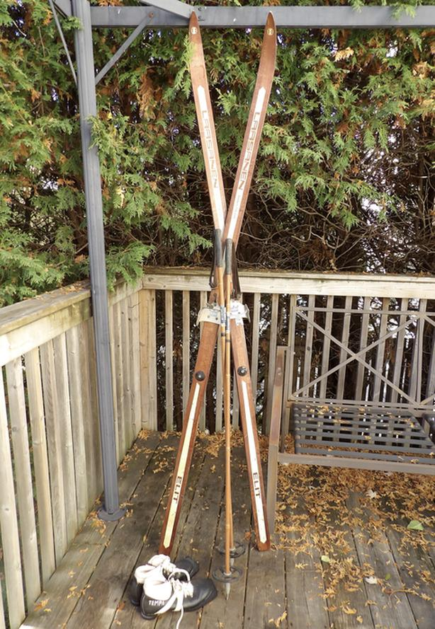 Vintage Laasanen Wooden X Country Skis + Bamboo Poles