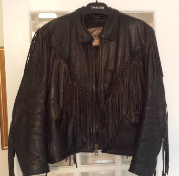 Women's Black Leather Jacket With Fringe