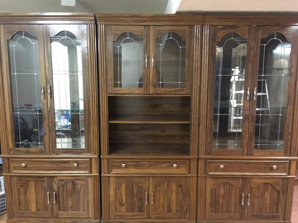 Set of 3 curio cabinets china
