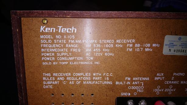 Ken-Tech stereo system X-105