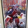 TWO PATRICK ROY - LAMINATED MOUNTED POSTERS AND FRAMED PICTURE