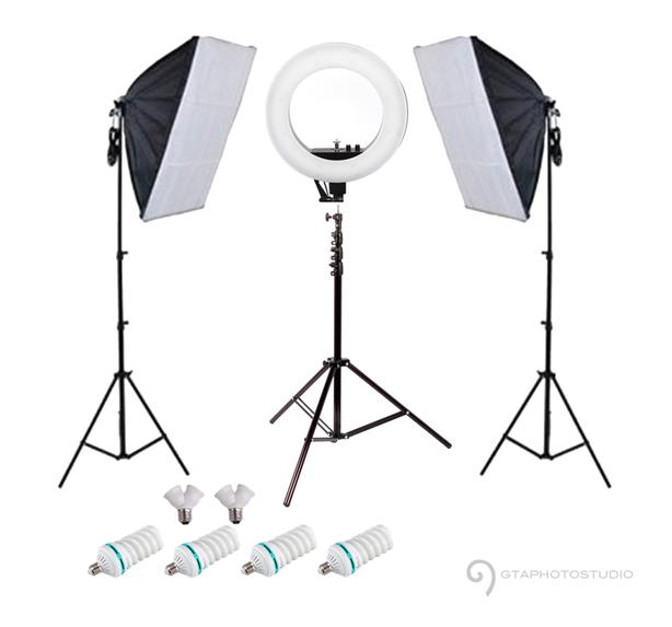 13 inch led diva ring light kit + continuous softbox lighting kit