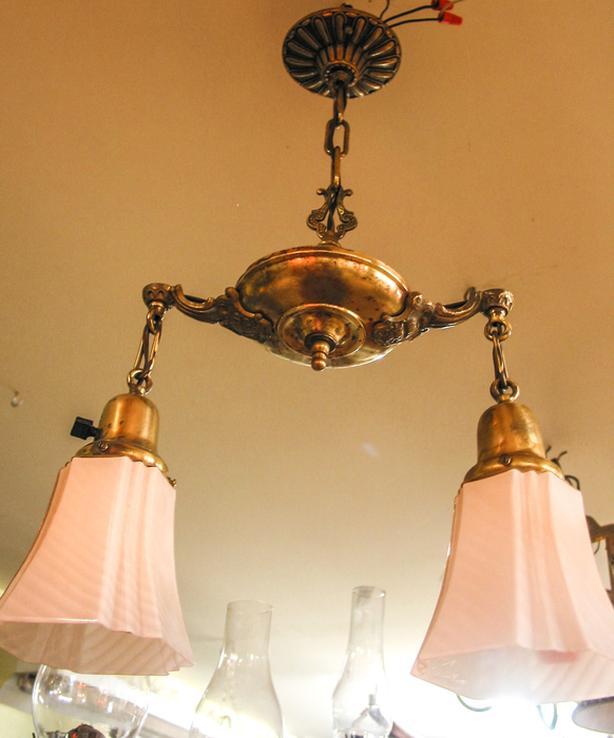 small vintage brass double arm light fixture - RETIREMENT SALE