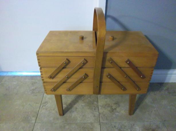 Vintage Large Solid Wood Cantilever Sewing box (basket)
