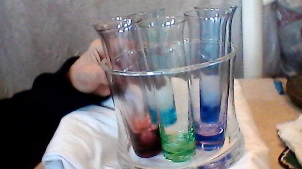 Retro Glass Bowl with multi-colored shot glasses