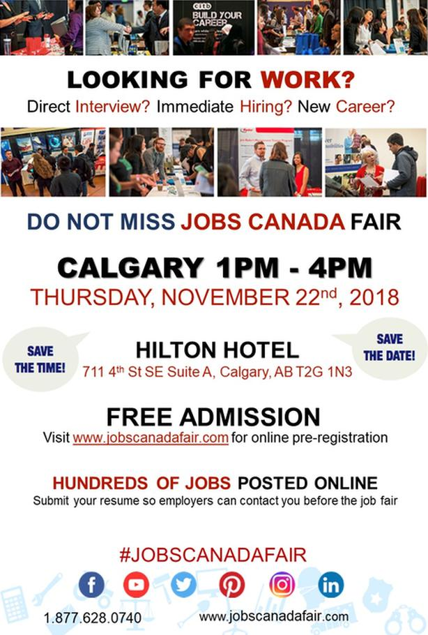 CALGARY JOB FAIR – NOVEMBER 22ND, 2018