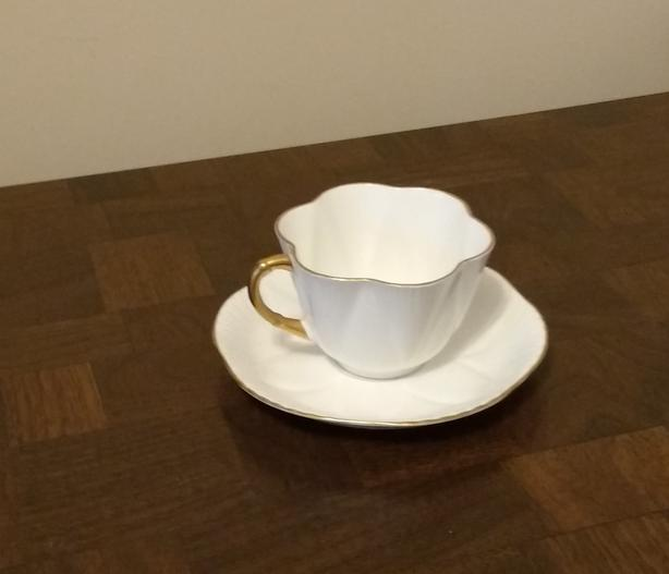SHELLEY CUP AND SAUCER - WHITE WITH GOLD TRIM
