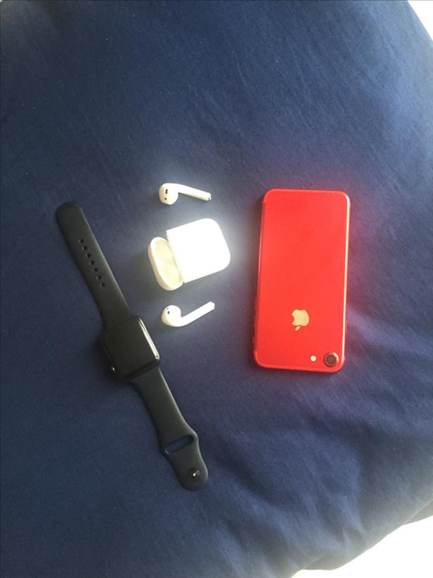 Used Airpod 1, series 3 iwatch 42mm, 2015 Mac book and iphone 7red