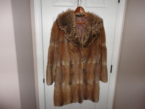 muskrat fur coat with beaver collar
