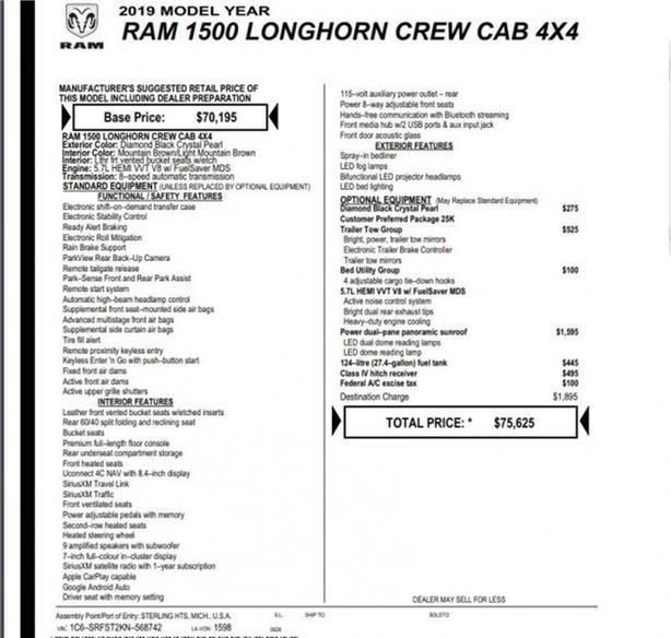 2019 Ram 1500 Longhorn  -Leather -Nav -Sunroof