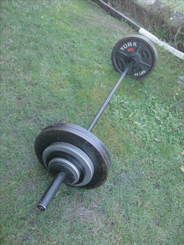 FIRM :Olympic 245 LBS of PLATES  7FT ( 44 LB ) BAR( 500 lb capacity)