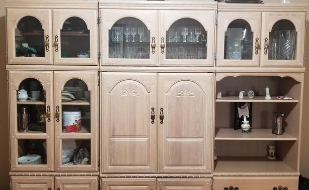 Buffet de cuisine, bleached solid Oak Dining Room Buffet with Hutch tv cabinet