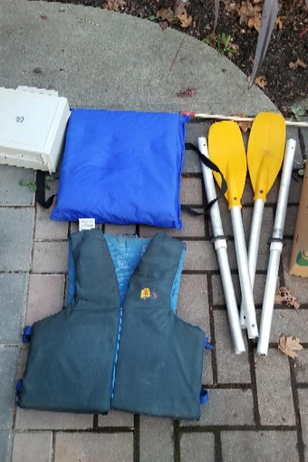 paddles , floatation cushion , large Life jacket
