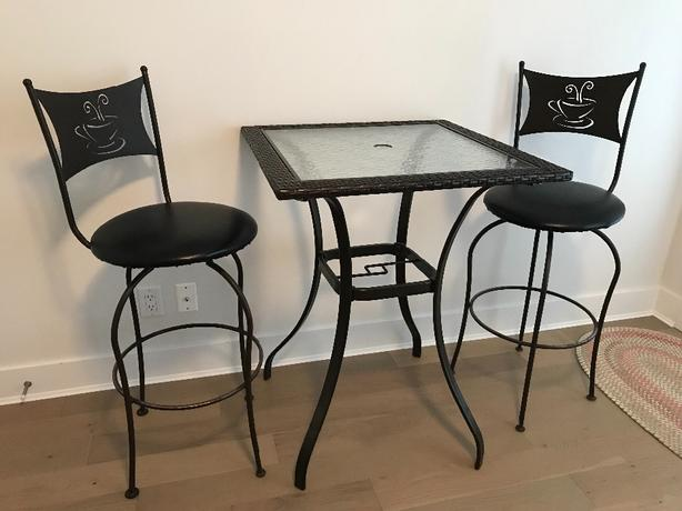 Bar Height Glass & Wicker Table with Two Chairs