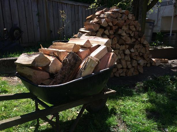 Large Wheelbarrow of Firewood