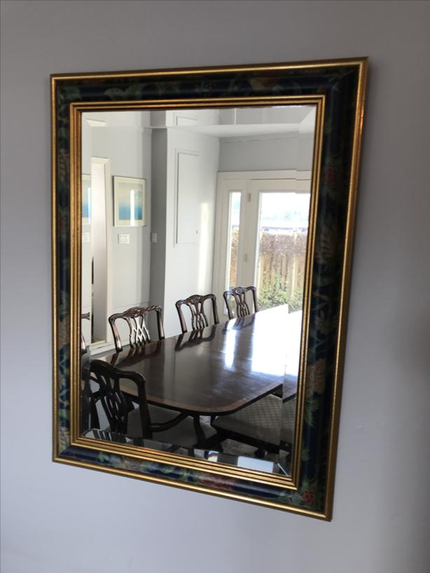 Gold and Floral Framed Mirror