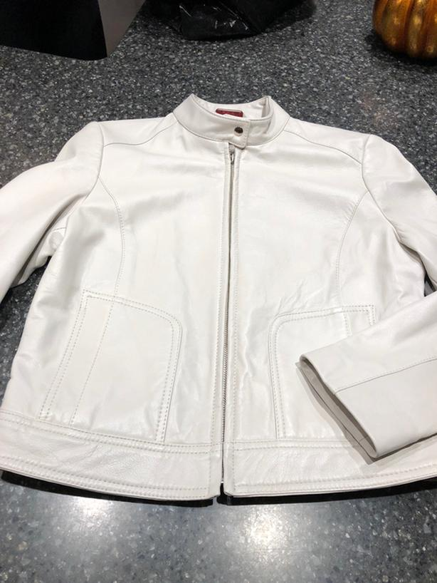 Cream/off white leather jacket