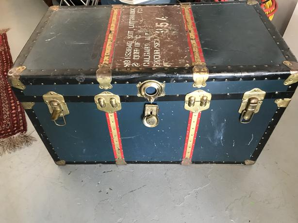 Steamer Trunk - Brass and Leather Bound