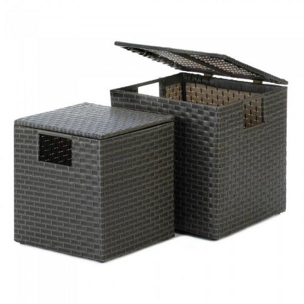 Wicker Rattan Storage Trunk Chest Charcoal Gray 2PC Set Brand New