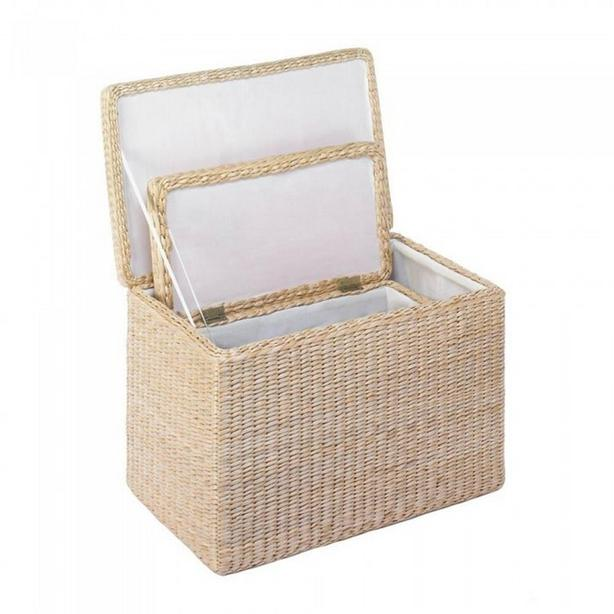 Fabric-Lined 2PC Nesting Storage Chest Trunk Set Natural Neutral Color NEW