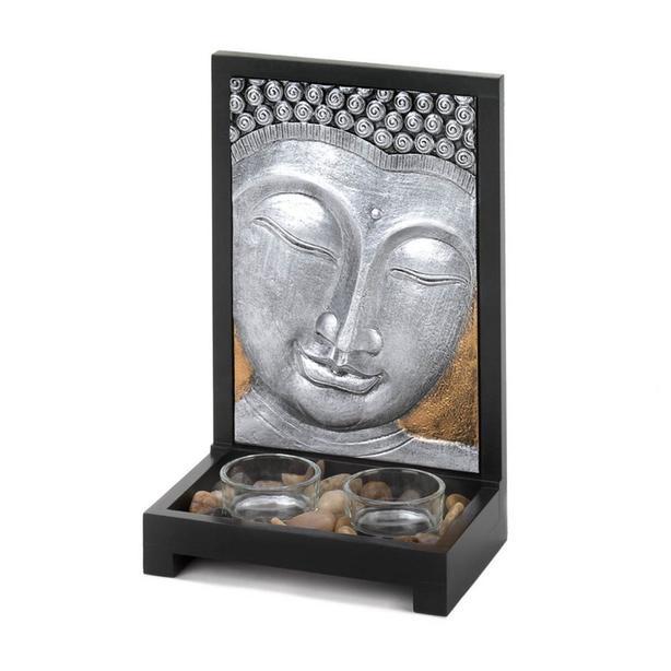 Faux Stone Buddha Figurine Statue & Silver Buddha Plaque Candleholder 2PC Mixed